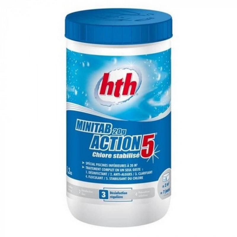 5в1 hth 1.2 кг (20г медленно растворимые таблетки) Minitab 20g Action 5 (Франция)